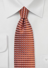 Retro Weave Tie in Burnt Orange