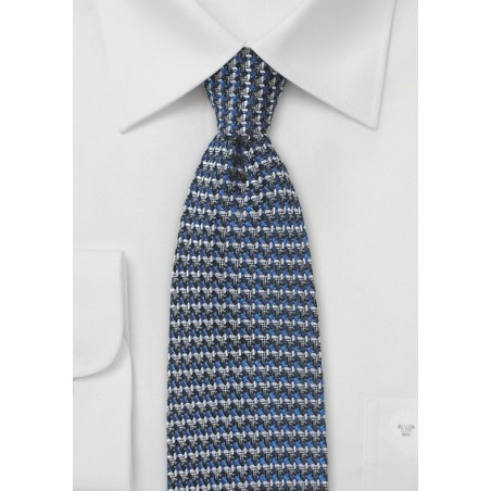 Retro Weave Tie in Blue and Gray