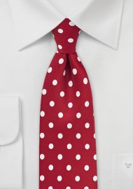 Polka Dot Tie in Tomato Red and White