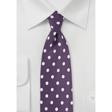 Plum Purple Tie with White Polka Dots