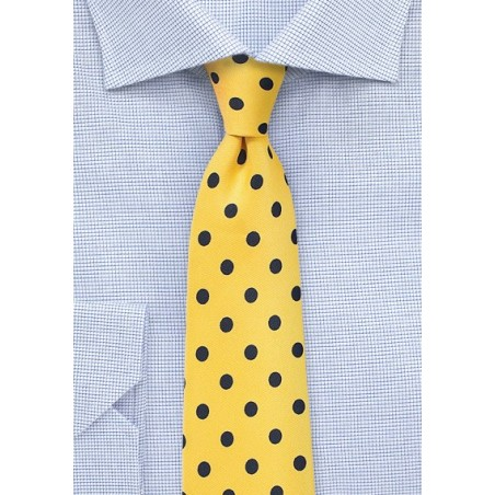 Bright Yellow and Navy Polka Dot Necktie