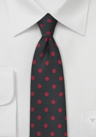 Black Necktie with Red Polka Dots