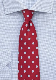 Cherry Red Tie with Light Blue Polka Dots