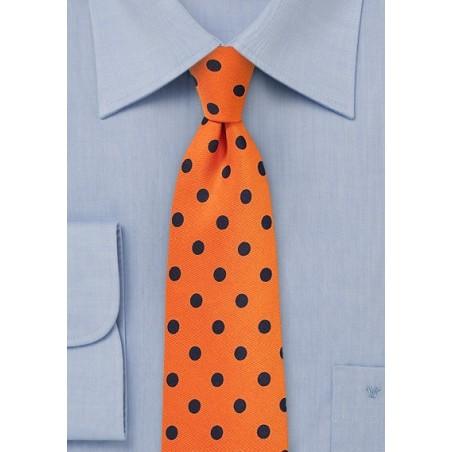Bright Orange and Navy Polka Dot Tie