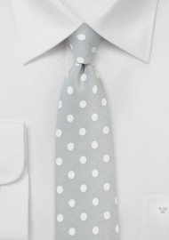 Silver and White Polka Dot Tie