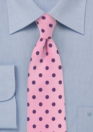 Pink Necktie with Grape Purple Polka Dots
