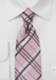 Soft Pink Plaid Tie in Kids Length