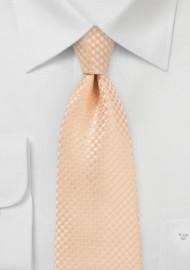 Textured Kids Length Tie in Soft Summer Peach