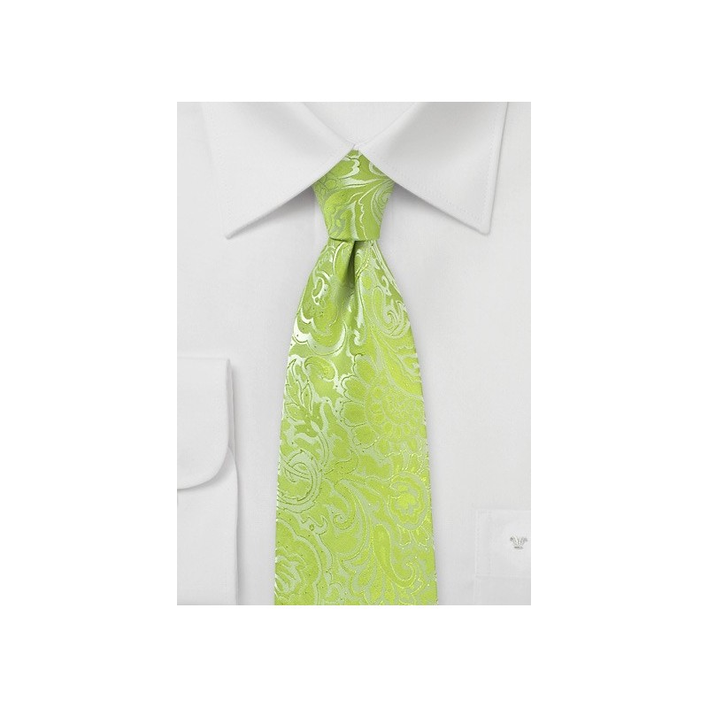 Lime Color Tie with Paisley Print in XL Length