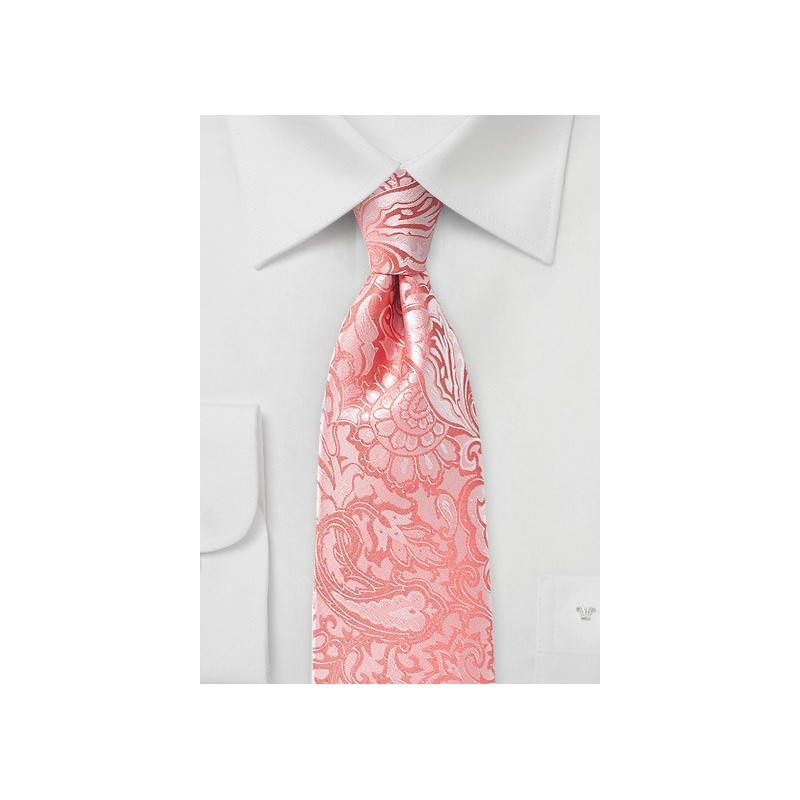 Neon Coral Paisley Tie