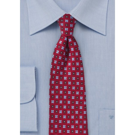 Cherry Red Floral Tie