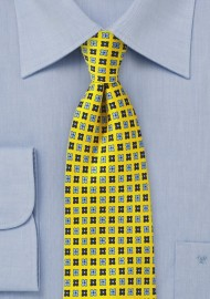 Bright Yellow Floral Tie with Blue Accents