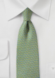 Light Blue and Yellow 70s Print Necktie