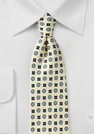 Foulard Silk Tie in Vanilla and Blue
