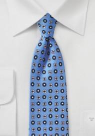 Alaskan Blue Foulard Silk Print Tie
