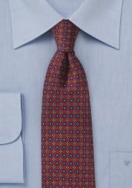 Intricate Foulard Print Tie in Burgundy