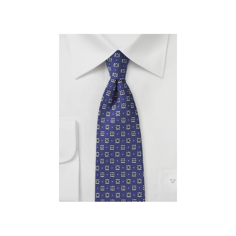 Navy Floral Tie with Silver and Red Accents