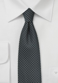 Black and Silver Pin Dot Tie
