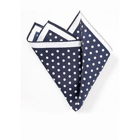 Polka Dot Pocket Square in Navy and White