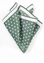 Green and White Polka Dot Pocket Square