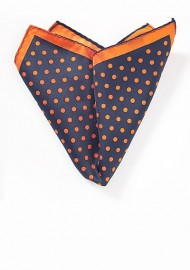 Navy Pocket Square with Orange Dots