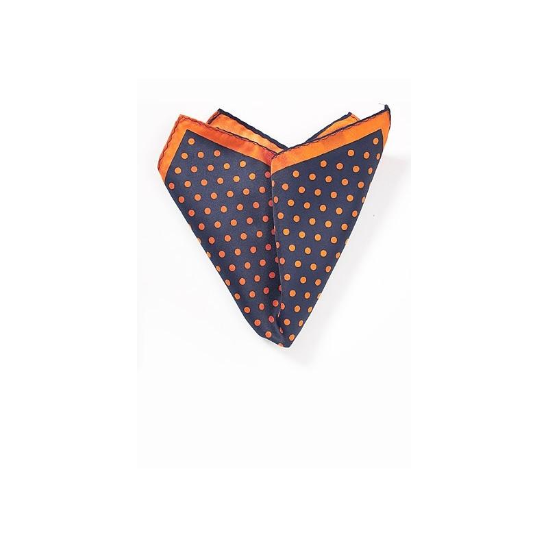 Navy Pocket Square with Orange Dots