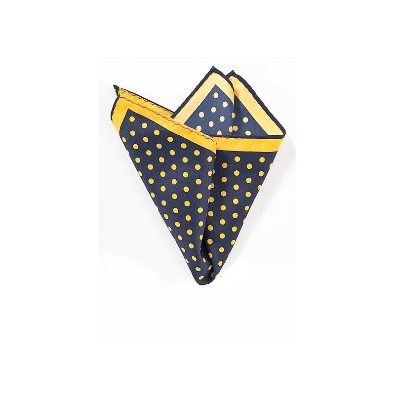 Navy And Yellow Dot Print Pocket Square