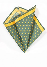 Green Pocket Square with Yellow Dots