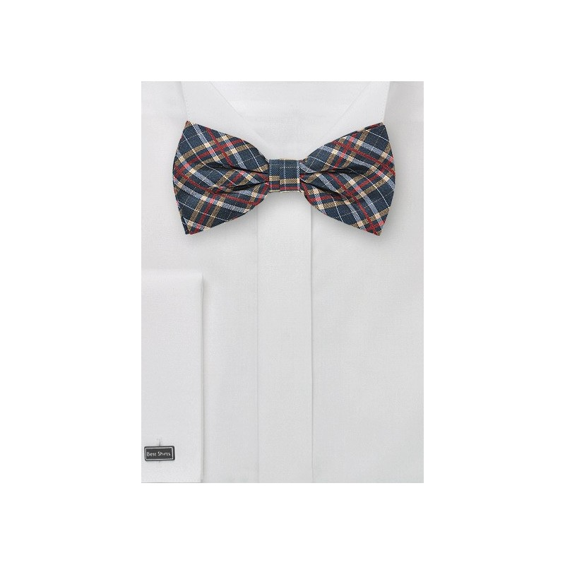 Tartan Plaid Bow Tie in Blue, Red, Gold