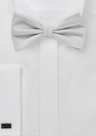Platinum Silver Bow Tie with Dots