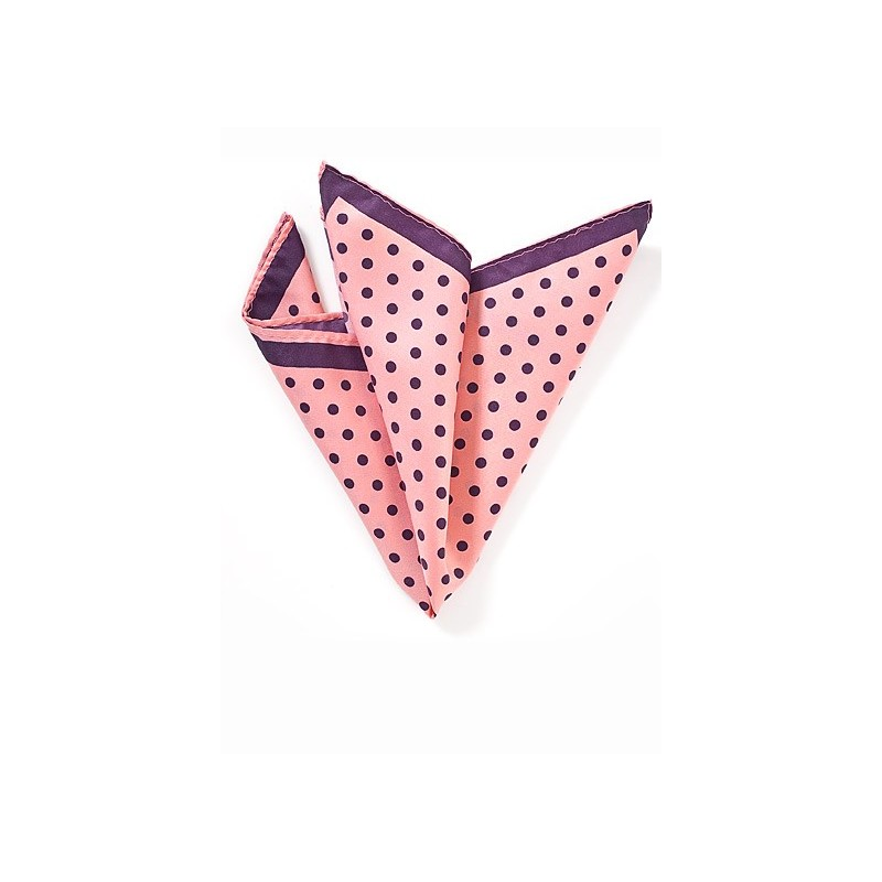 Pink and Grape Polka Dot Pocket Square