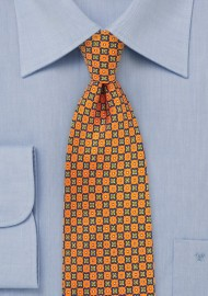 Foulard Print Tie in Bright Orange