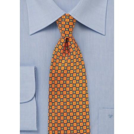 Foulard Print Tie in Bright Orange