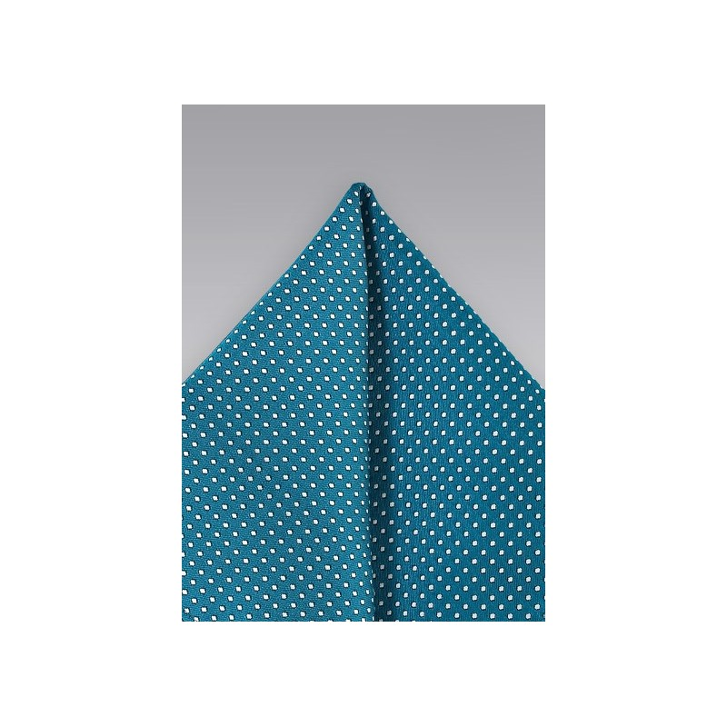 Teal Pin Dot Pocket Square