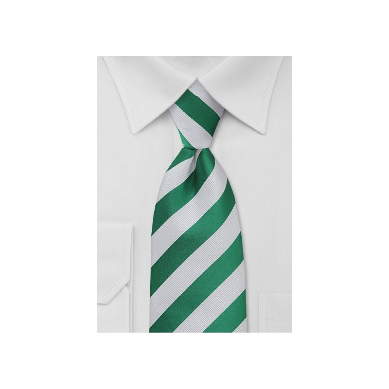 Extra Long Green and White Striped Tie