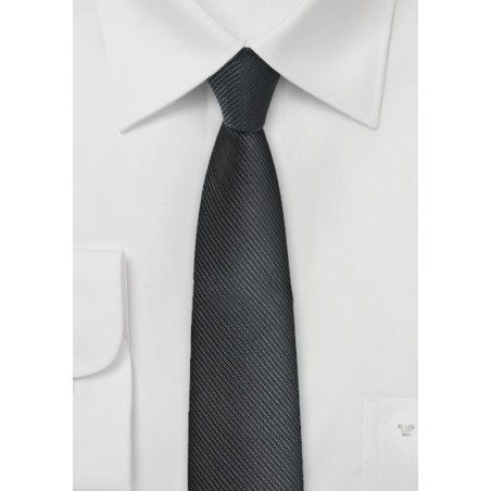 Ribbed Textured Black Skinny Tie