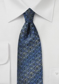 Circular Graphic Print Tie in Blues