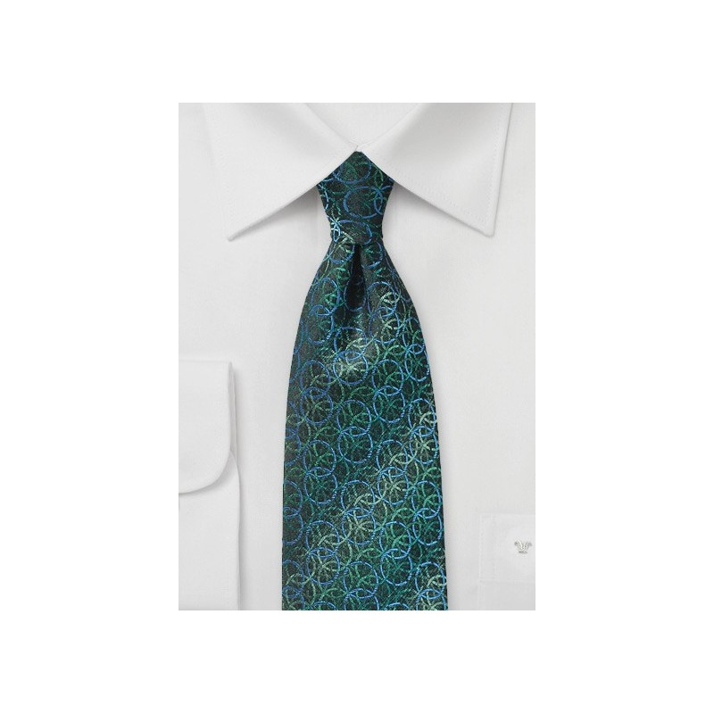 Pine Green, Blue, and Teal Circular Print Tie