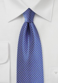 Saphire Silk Tie with Golden Micro Checks