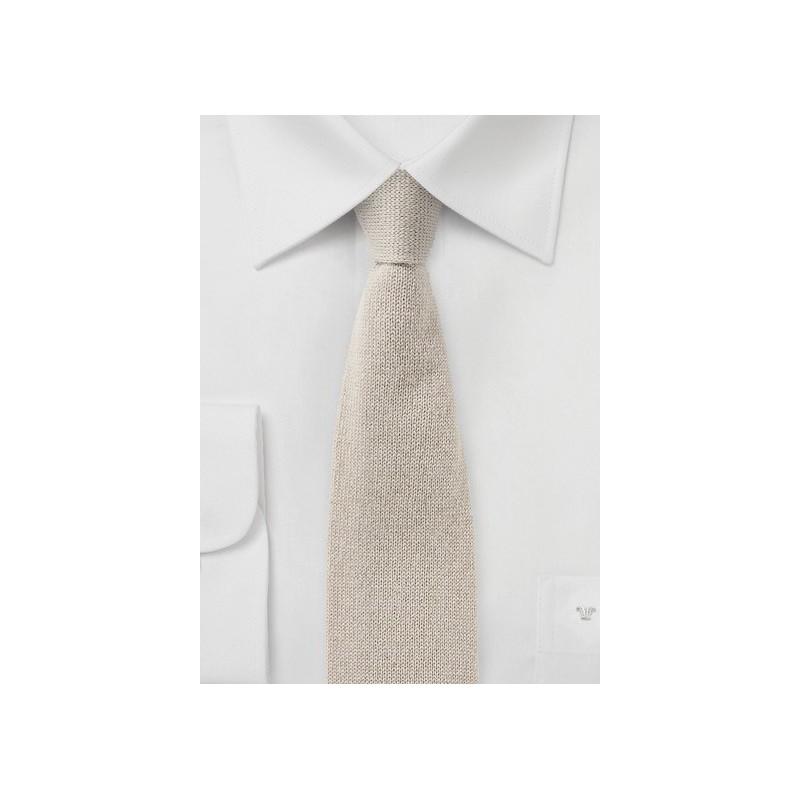 Cashmere Knit Tie in Beige