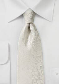 XL Sized Paisley Tie in Light Ivory