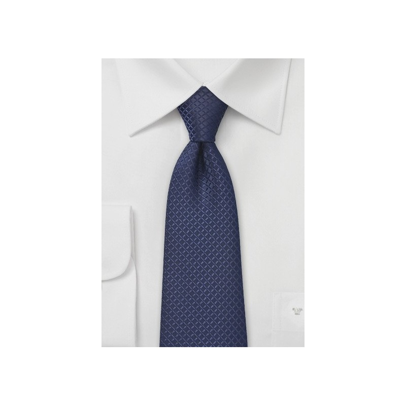 XL Length Navy Blue Tie with Checks