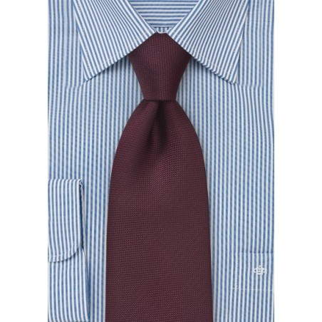 Matte Maroon Red Tie in XL Length
