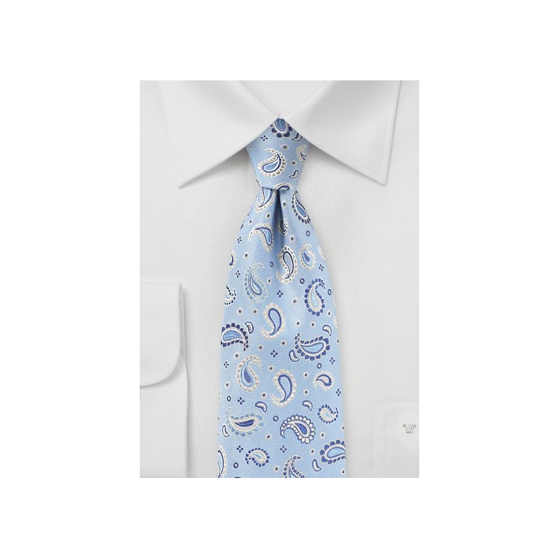 Summer Paisley Necktie in Dream Blue