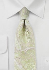 Chartreuse and Pink Paisley Tie
