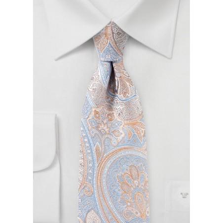 Light Blue and Orange Paisley Tie