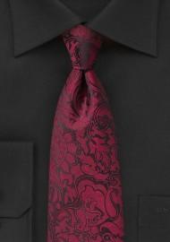 Burgundy Paisley Tie for Kids