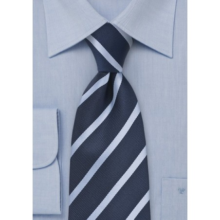 XL Tie in Navy and Light Blue Stripe