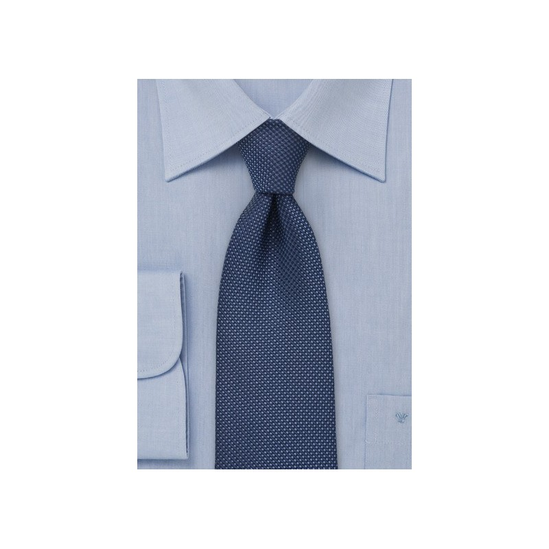 Navy Blue Kids Tie with Grenadine Texture