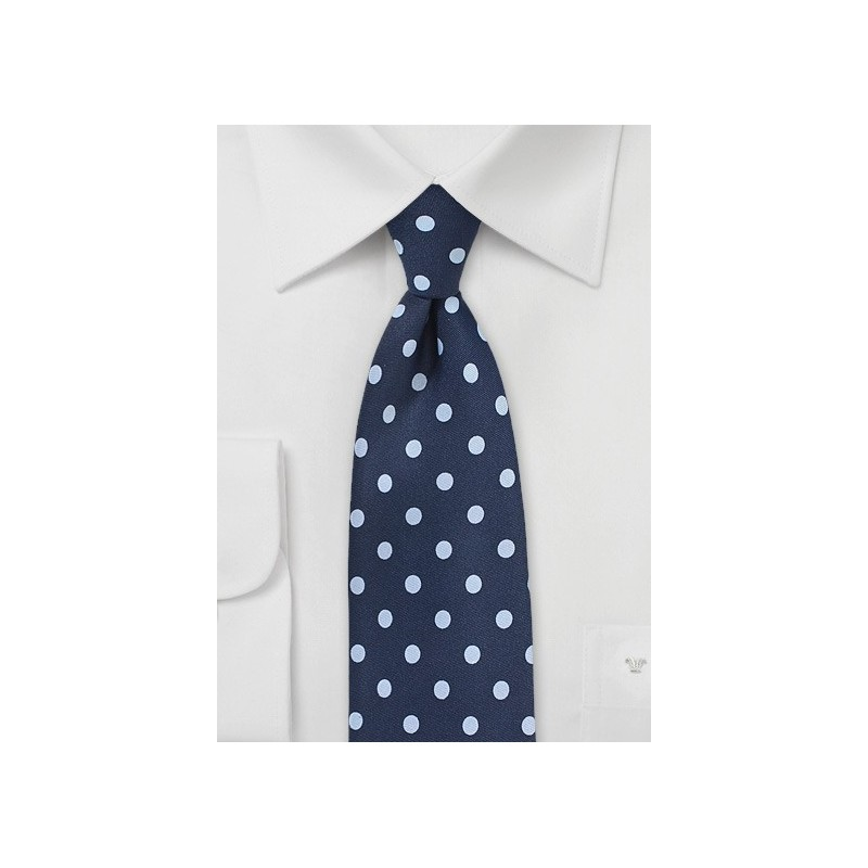 Navy and Light Blue Dot Print Tie